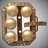 1930s Half Buckle Dress decoration Vintage Faux Pearls Gold Tone Rhinestones