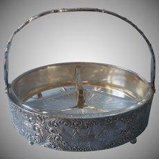 1920s Barbour Dutch Vintage Silver Plated Relish Basket Frame Glass Insert