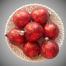 Vintage Glass Christmas Tree Ornaments Red West Germany Glitter Streaks