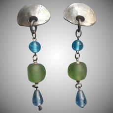 1980s Earrings Long Big Silver Tone Beach Glass Colors Glass Blue Green