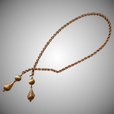 Vintage Monet Lariat Bolo Necklace Textured Links Brushed Balls Filigree