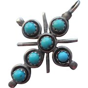 Vintage Sterling Silver Turquoise Snake Eye Native American Cross Pendant