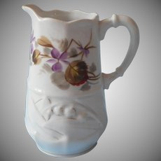 Victorian Small Milk Pitcher Antique China Violets Hand Painted TLC