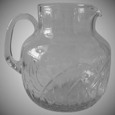 Signed Block Vintage Cut Crystal Glass Pitcher Large