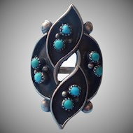 Vintage Sterling Silver Turquoise Ring Unusual Shape Native American