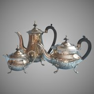 Vintage Teapot Coffee Pot Creamer Pot Handsome Silver Plated India
