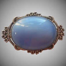 Antique Brooch Pin Late 1910s Sky Blue Glass Silver Tone Metal