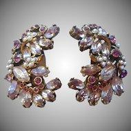 Hollycraft Earrings Vintage Lavender Purple Stones Faux Pearls Dated 1952