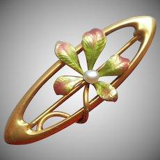 14K Enamel Pearl Antique Krementz Art Nouveau Lace Pin Leaves