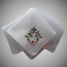 Vintage Hankie Christmas Unused Embroidery Holly Bell