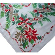 Vintage 1950s Tablecloth Christmas Print Printed Kitchen