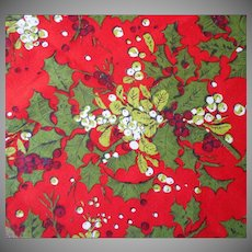1970s Christmas Tablecloth Printed Holly Mistletoe Vintage