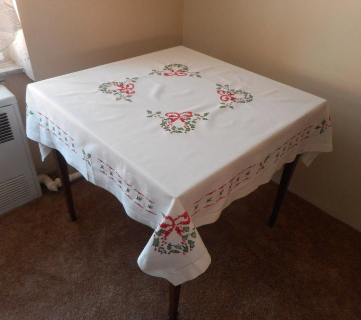 vintage square christmas tablecloth cross stitched hand embroidery red green white - Square Christmas Tablecloth