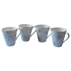 Lenox China Merry And Bright 4 Mugs Cups Snowflakes