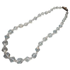1930s Cut Crystal Chunky Beads Necklace Vintage Unusual Triangle Cut Rhinestone Clasp