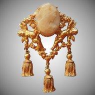 Vintage Shell Cameo Pin Brooch Cherubs Tassels Dangles