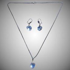 Vintage Hearts Cut Crystal Necklace Pierced Earrings Set