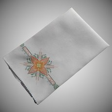 ca 1920 Towel Vintage Linen Tiny Bright Hand Embroidery