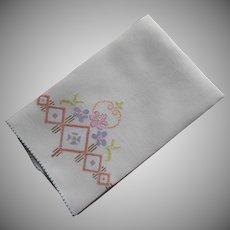 ca 1920 Towel Linen Hand Embroidery Vintage Purple Predominately