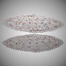 Antique Pair Large Tape Lace Centerpiece Centerpieces Oval Battenburg Type