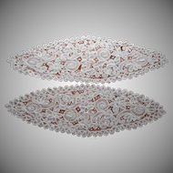 Antique Pair Large Tape Lace Centerpiece Centerpieces Oval Battenburg Type