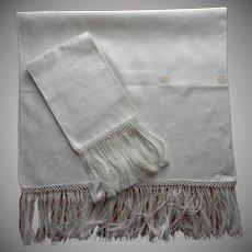Antique Italian Damask Linen Towels Unused Long Fringe Pair Original Labels