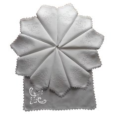 12 Napkins ca 1920 Linen Cutwork Filet Needle Lace Antique Hand Embroidery