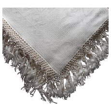 ca 1920 Italian Wedding Coverlet Bedspread Antique Cream Color Fringe