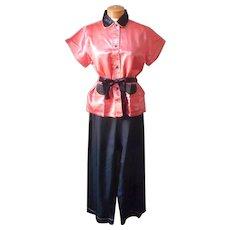 1930s Pajamas Vintage Satin Never Worn Black Coral M 38