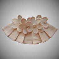 1940s Collar Ruffle Lace Flower Appliques Vintage Faux Pearl Decoration