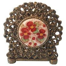 Napkin Holder Hand Painted China Vintage Ornate Metal Ormolu Letter Rack