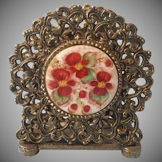Napkin Holder Hand Painted China Vintage Ornate Metal Ormolu Letter Rack