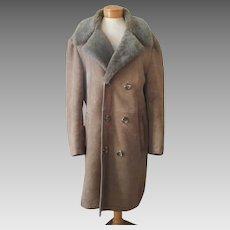 1970s Men's Shearling Coat Vintage Three Quarter Length Flah's Boutique