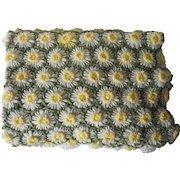 1970s Afghan Daisy Loom Crocheted Vintage 68 x 50