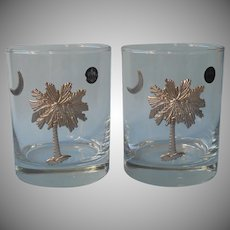 Jon Margeaux 2 Double Old Fashioned Rocks Glasses South Carolina Palmetto Moon