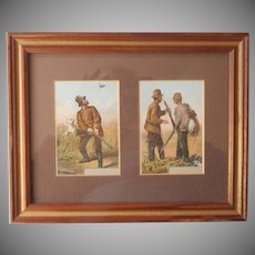 Antique Game Bird Hunting Lithographs In Small Dual Frame