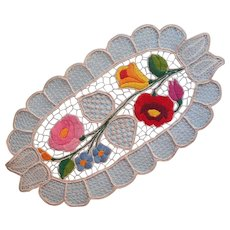 Vintage Kalocsa Oval Doily Lace Hand Embroidery Bright Flowers