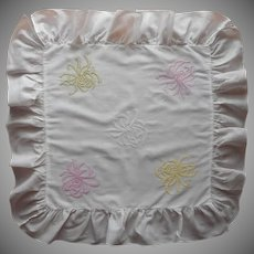 Antique Pillow Sham Hand Embroidery Pink Yellow White Cotton Ruffled