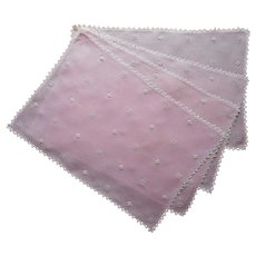 1920s Pink Linen Placemats Hand Made Lace Italian Work Embroidery