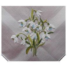 Snowdrops Vintage Hankie Hand Embroidered Handkerchief