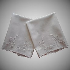 Antique Towels Pair Whitework Hand Embroidery Bows Garlands