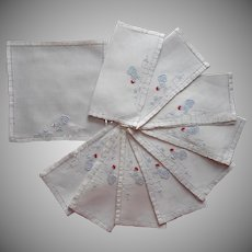 Cocktail Napkins Vintage Linen Hand Embroidered Roosters