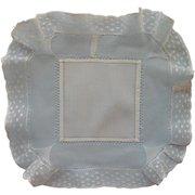 Antique Hankie Wide Net And Lace Border Handkerchief