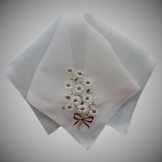 Vintage Hankie Embroidered White Flowers Brown Centers Bow