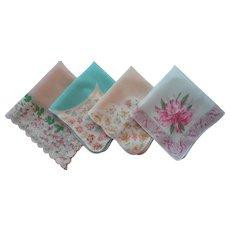 Vintage Hankies Hankie Soft Pastel Prints Print Cotton