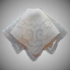 Vintage Hankie Linen Drawn Work Hand Embroidery All White