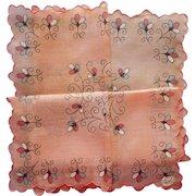 Vintage Hankie Unused Pink Print Burmel Label Cotton