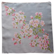 Vintage Hankie Printed Linen Gray Pink Cheery Blossoms Print