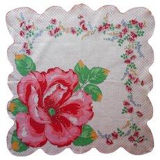 Vintage Hankie Large Cotton Print Printed Huge Flower Corner