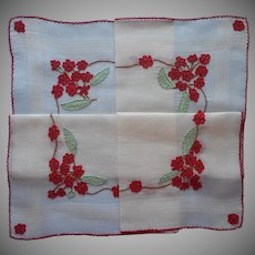 Exceptional Madeira Vintage Hankie Unused Red Organdy Appliqued Hand Embroidered